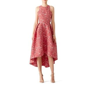 ML Monique Lhuillier - Red Abstract Floral Dress
